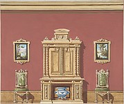 Interior Design with a Central Cabinet, Two Chairs and Two Landscape Paintings against a Red Wall