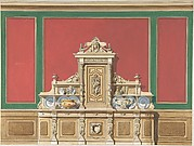 Interior Design for Large Display Cabinet against Red and Green Panelling
