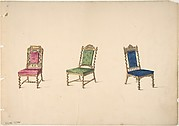 Designs for Three Chairs with Turned Legs and Backs