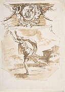 Draped Man Running; Cartouche Supported by Two Winged Victories