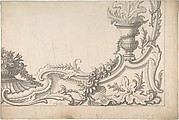 Design for the Corner of a Decoration (recto); Sketch of Monumental Building with Four Temple-Front Entrances (verso)