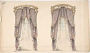 Design for Pink, Mauve and White Floral Curtains with a Gold and White Pediment