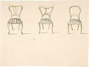 Design for Three Chairs with Curved Backs (verso: Sketch for a Sideboard)