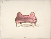 Design for a Double Hump-backed Sofa with Turned Legs and Arms, with Red Tufted Upholstery