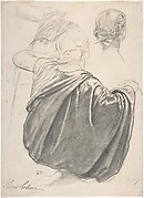 Studies of a Draped Female Figure, Kneeling, Seen from the Back, for the East Transept of the Chruch of Sainte-Clothilde, Paris