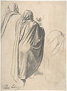 Back View of a Male Figure Wearing a Cloak