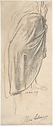 Back View of a Draped Male Figure Holding a Staff