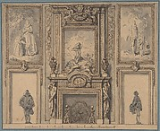 Design for a Wall Decoration with Chimneypiece and Two Figures