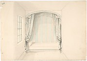 Design for a Canopied Bed with Pale Blue and White Hangings