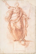 Allegorical Figure of Religion (recto); Study of a Griffon and of a Seated Figure (verso)