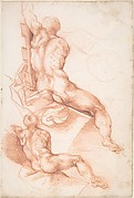 Two Studies of a Seated Male Nude Seen from the Back