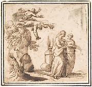 Unidentified Subject:  Two Falling Figures and Two Standing Women in a Landscape