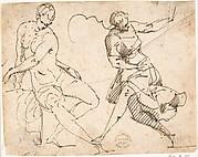 Seated Female Nude and Dancing Female Figure