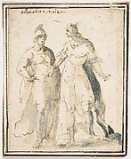 Two Standing Male Figures in Antique Military Costume