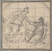 Design for a Medallion: Huntress Kneeling before an Armed Goddess