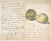 A Letter to Eugène Maus, Decorated with Two Apples