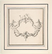 Design for a Rococo Cartouche with Putti and Monkeys