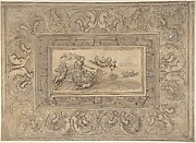 Design for a Ceiling with a Woman (Aurora?) in a Chariot and Putti (Recto). Design for an Ornamental Frieze (Verso).