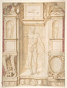 Study of a Figure in a Niche (Saint Ambrose; recto); Architectural Studies: Four Alternative Designs for Fictive Niches and an Unrelated Design with Garlands (verso), ca. 1560-67