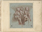 Design for a Pendentive:  Youthful Musicians with Wind Instruments and a Drum