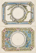 Two Separate Designs for the Top and Bottom of a Rectangular Gold Enameled Box with Canted Corners