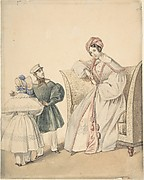 Fashion Drawing with a Woman Seated in a Chair with a Boy and Girl