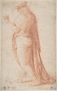 Young Man Standing in Profile Facing Left (recto); Sketch of Two Capitals (verso)