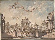 Design for a Stage Set: Semi-Circular Colonnaded Building, a Bridge Surmounted by a Tempietto, a Fountain in the Foreground and Putti Bearing Garlands.