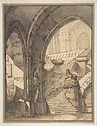 Framed Design for a Stage Set with Arches, Stairs, Human Figure and Sphinx Statue.