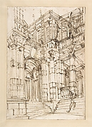 Sketch for a Stage Set: Foreshortened View of a Palace with a Figure on the Stairs.