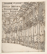Design for a Stage Set: Interior of a Ballroom or Theater with Torqued Columns and Large Volutes Above.