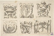 Drawing Divided in Six Squares with Urns, Vases, Tripods, Bosse and Niche