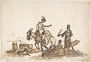 Man Assisting a Woman to Mount a Horse, with Two Other Figures and a Dog