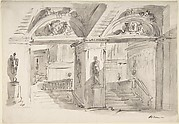 Sketch of a Palace's Interior's Foreshortening with Stairs, Statues and Ornaments