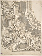 Design for a Decorated Ceiling with Statues and Stucco