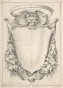 Design for a Cartouche with a Lion's Head and Nimbus
