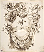 Cartouche with Coat of Fleur de Lys surrounded by two Female Figures handing Garlands, a Gargoyle Head as a Support and a Human Head in a Sea-Shell on the Top