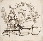 Drawing of a Decorated Coat of Arms surrounded by Books, Owl, Leaves, Vase and a Snake