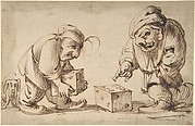 Two Dwarfs Playing Dice, a Dog at Left