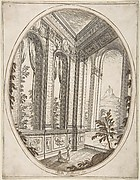 Vertical Oval Vignette of A Palace Interior with Two Figures Admiring Decoration; a Craggy Mountain Seen Through a Window in The Far Distance.