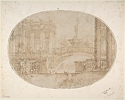 Architectural Perspective for a Stage Set with a Bridge, Statues and a Fountain in the Background and Human Figures in the Foreground