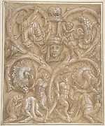 Design for an Ornamental Panel with Rinceaux, Satyrs, Putti, Monsters and a Human Head.