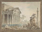 Architectural Capriccio with Roman Monuments and Washerwomen