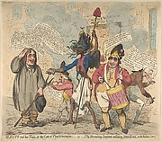 Alecto and Her Train, at the Gate of Pandaemonium:–or–The Recruiting Sarjeant Enlisting John Bull, Into the Revolution Service