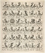 Sheet of Rebuses with Birds with Human Heads