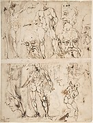 Studies of Nudes and Human Heads (recto and on the verso).