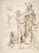 Studies and Sketches for Figures: Standing Male Nude in Frontal View, Male Heads, Seated Monkey, and a Long-Beaked Bird (a Stork?) (recto); Figure Studies:  Back View of Standing Male and Female Heads, a Flying Long-Beaked Bird, etc. (verso)