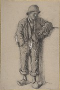 A Standing Peasant Boy in Hat and Wooden Shoes