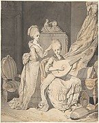 Two Women in an Elegant Interior: a Singer Accompanied by a Lutenist