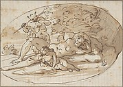 Design for a Vignette with a Nymph Surprised by a Satyr